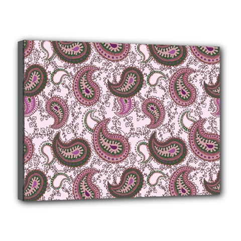 Paisley in Pink Canvas 16  x 12  (Framed)