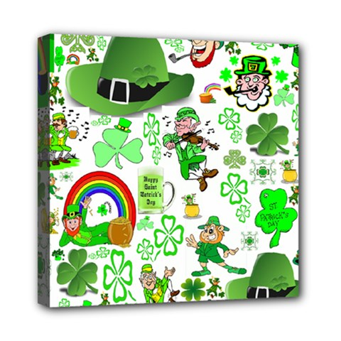 St Patrick s Day Collage Mini Canvas 8  x 8  (Framed)