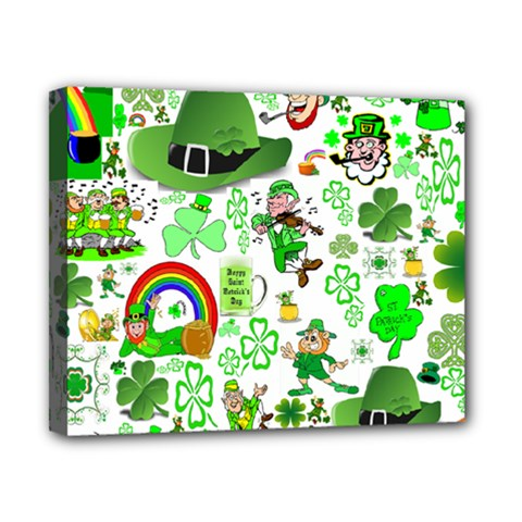 St Patrick s Day Collage Canvas 10  x 8  (Framed)