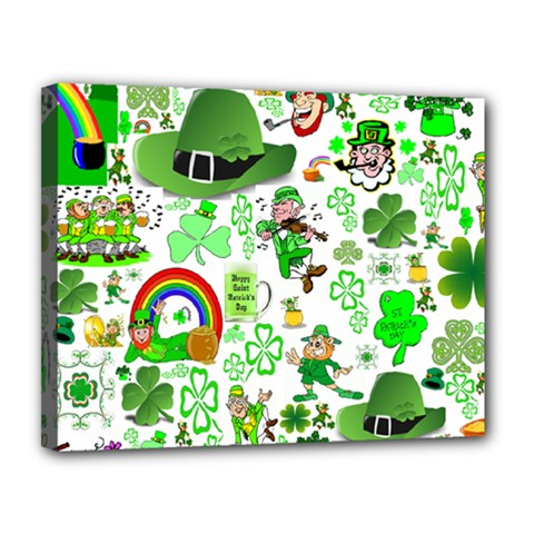 St Patrick s Day Collage Canvas 14  x 11  (Framed)