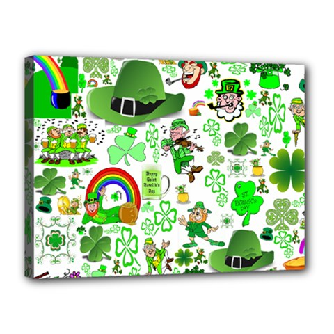St Patrick s Day Collage Canvas 16  X 12  (framed)