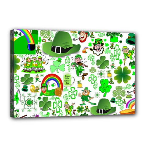 St Patrick s Day Collage Canvas 18  x 12  (Framed)