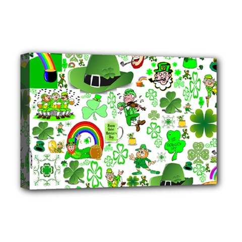 St Patrick s Day Collage Deluxe Canvas 18  x 12  (Framed)