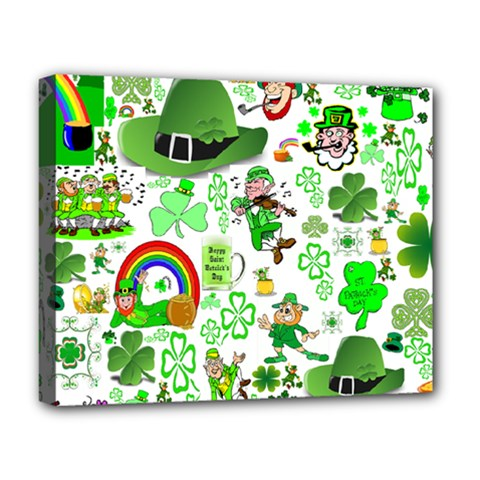 St Patrick s Day Collage Deluxe Canvas 20  x 16  (Framed)