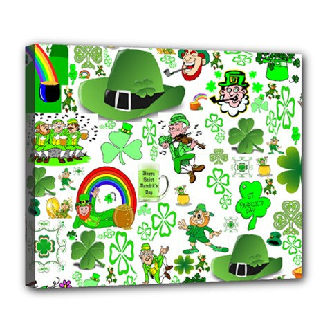 St Patrick s Day Collage Deluxe Canvas 24  x 20  (Framed)