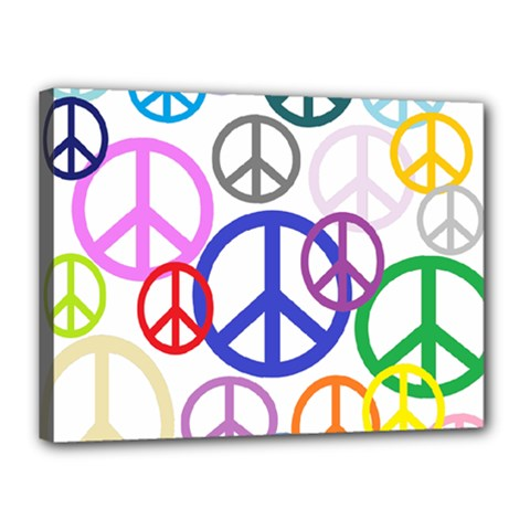 Peace Sign Collage Png Canvas 16  x 12  (Framed)