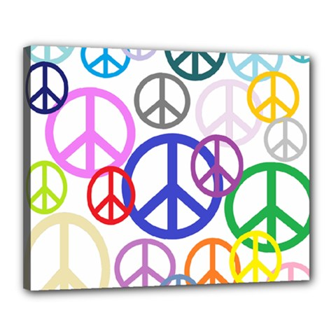 Peace Sign Collage Png Canvas 20  X 16  (framed)