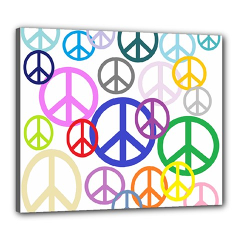 Peace Sign Collage Png Canvas 24  X 20  (framed)