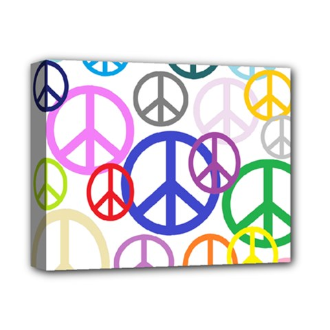 Peace Sign Collage Png Deluxe Canvas 14  x 11  (Framed)