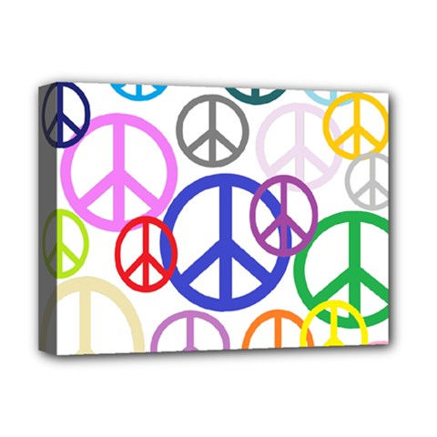 Peace Sign Collage Png Deluxe Canvas 16  x 12  (Framed)