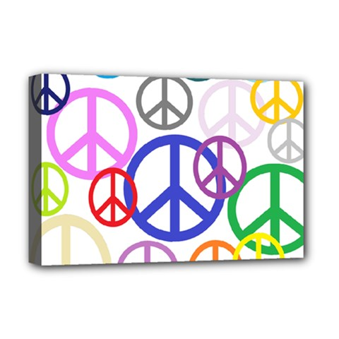 Peace Sign Collage Png Deluxe Canvas 18  X 12  (framed)