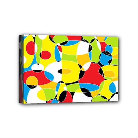 Interlocking Circles Mini Canvas 6  x 4  (Framed)