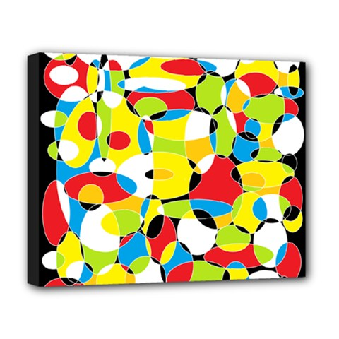 Interlocking Circles Deluxe Canvas 20  x 16  (Framed)