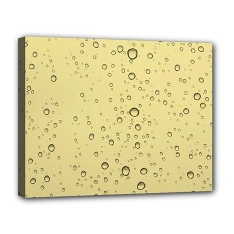 Yellow Water Droplets Canvas 14  X 11  (framed)