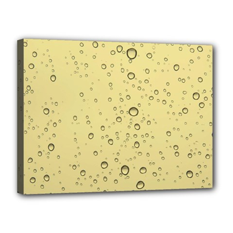 Yellow Water Droplets Canvas 16  X 12  (framed)