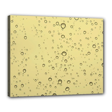 Yellow Water Droplets Canvas 20  x 16  (Framed)