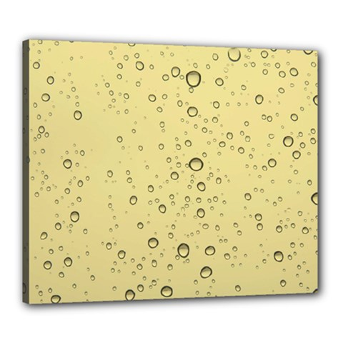 Yellow Water Droplets Canvas 24  x 20  (Framed)