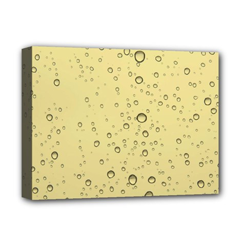 Yellow Water Droplets Deluxe Canvas 16  x 12  (Framed)