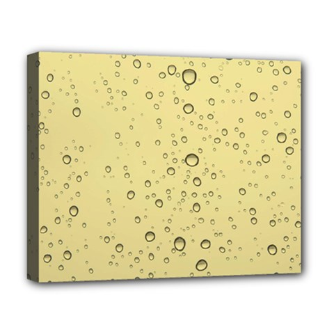 Yellow Water Droplets Deluxe Canvas 20  x 16  (Framed)
