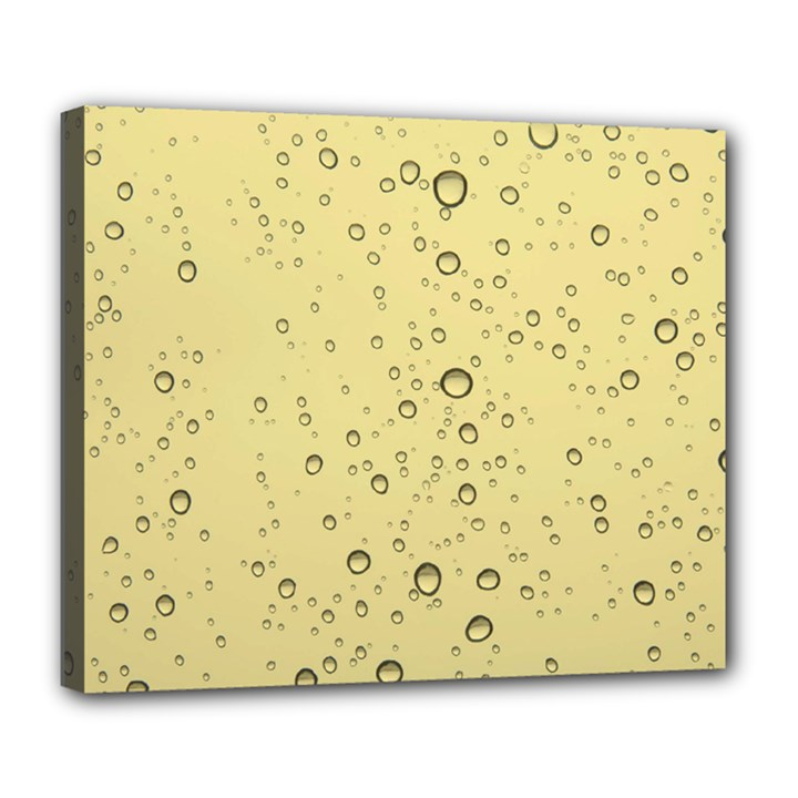 Yellow Water Droplets Deluxe Canvas 24  x 20  (Framed)