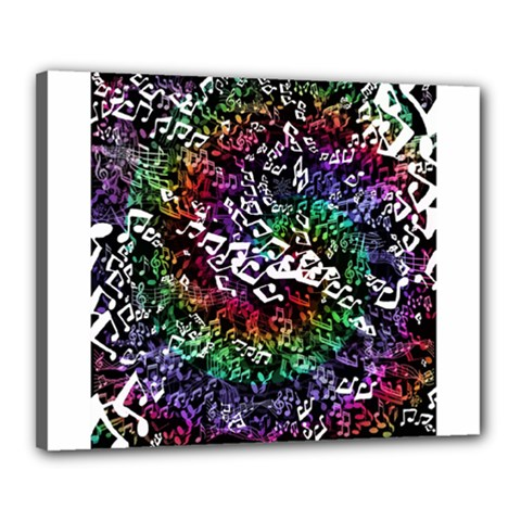Urock Musicians Twisted Rainbow Notes  Canvas 20  x 16  (Framed)