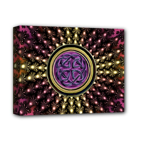 Hot Radiant Fractal Celtic Knot Deluxe Canvas 14  x 11  (Stretched)