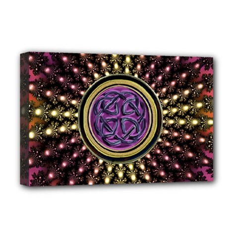 Hot Radiant Fractal Celtic Knot Deluxe Canvas 18  X 12  (stretched)
