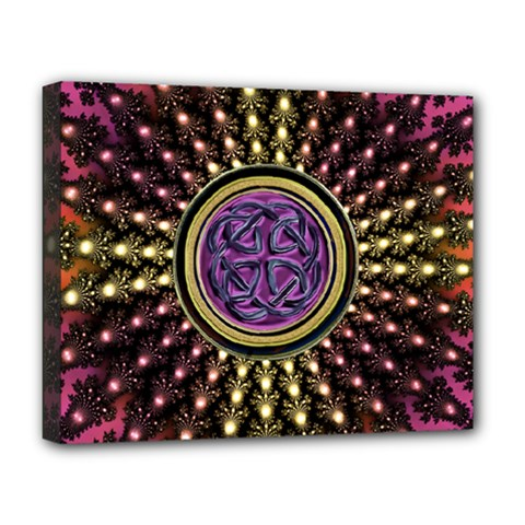 Hot Radiant Fractal Celtic Knot Deluxe Canvas 20  x 16  (Stretched)