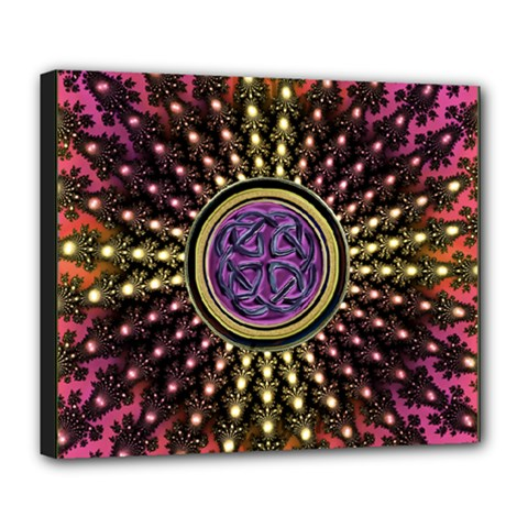 Hot Radiant Fractal Celtic Knot Deluxe Canvas 24  x 20  (Stretched)