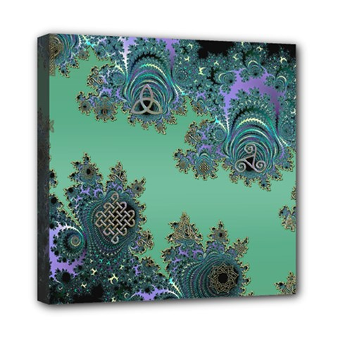 Celtic Symbolic Fractal Design in Green Mini Canvas 8  x 8  (Framed)