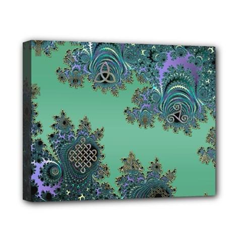 Celtic Symbolic Fractal Design in Green Canvas 10  x 8  (Framed)