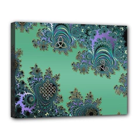 Celtic Symbolic Fractal Design in Green Canvas 14  x 11  (Framed)