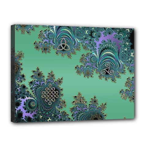 Celtic Symbolic Fractal Design In Green Canvas 16  X 12  (framed)