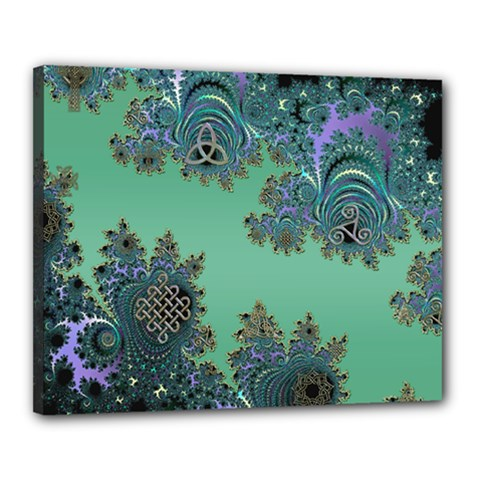 Celtic Symbolic Fractal Design In Green Canvas 20  X 16  (framed)