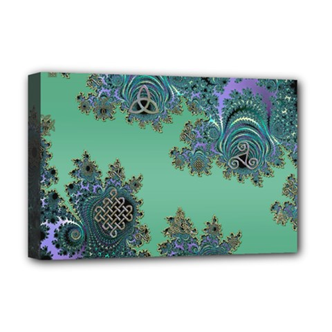 Celtic Symbolic Fractal Deluxe Canvas 18  X 12  (framed)