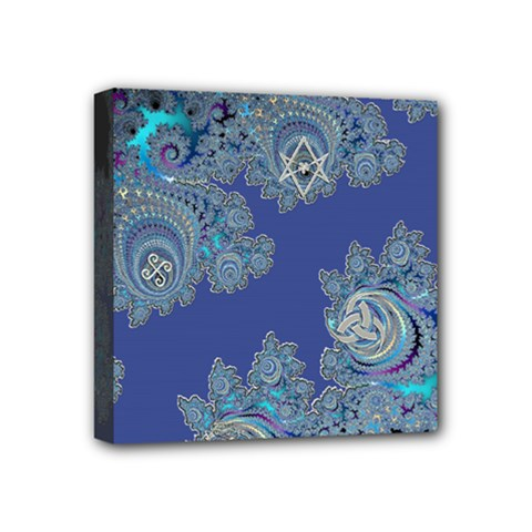 Blue Metallic Celtic Fractal Mini Canvas 4  x 4  (Framed)