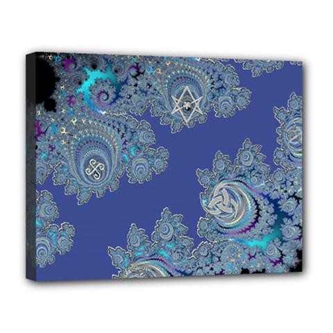 Blue Metallic Celtic Fractal Canvas 14  x 11  (Framed)