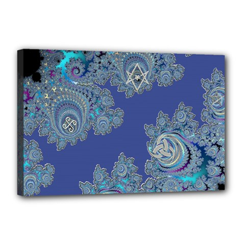 Blue Metallic Celtic Fractal Canvas 18  x 12  (Framed)