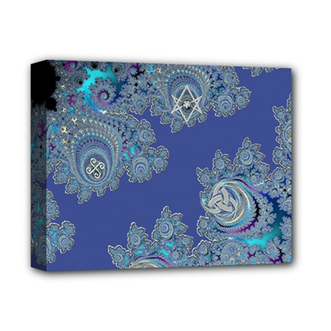 Blue Metallic Celtic Fractal Deluxe Canvas 14  X 11  (framed)