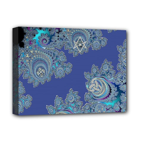 Blue Metallic Celtic Fractal Deluxe Canvas 16  x 12  (Framed)