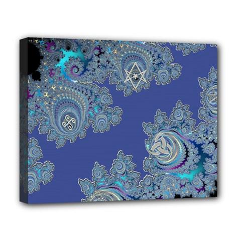 Blue Metallic Celtic Fractal Deluxe Canvas 20  X 16  (framed)