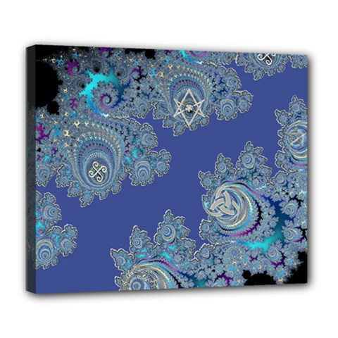 Blue Metallic Celtic Fractal Deluxe Canvas 24  x 20  (Framed)