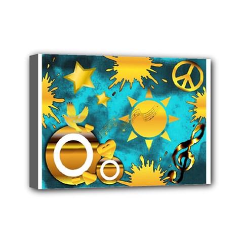 Musical Peace Mini Canvas 7  X 5  (framed)