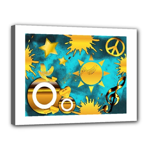 Musical Peace Canvas 16  x 12  (Framed)