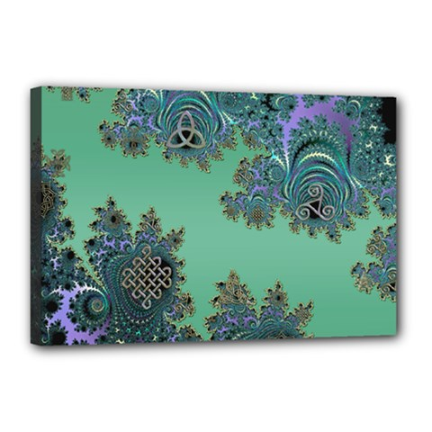 Celtic Symbolic Fractal Canvas 18  x 12  (Framed)