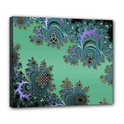 Celtic Symbolic Fractal Deluxe Canvas 24  X 20  (framed)