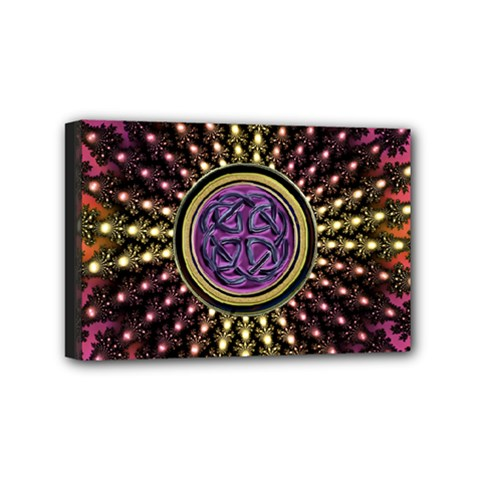Hot Lavender Celtic Fractal Framed Mandala Mini Canvas 6  x 4  (Framed)