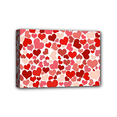 Pretty Hearts  Mini Canvas 6  X 4  (framed)