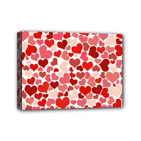 Pretty Hearts  Mini Canvas 7  X 5  (framed)