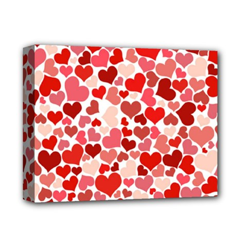 Pretty Hearts  Deluxe Canvas 14  x 11  (Framed)